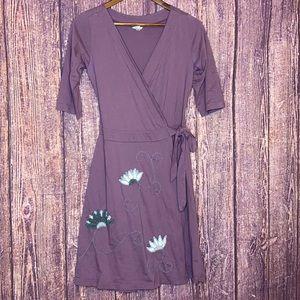 SYNERGY organic cotton floral wrap dress medium